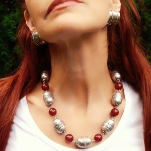 Vintage Silver and Catilan Tribal Bead Necklace